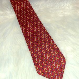 Burberry's vintage men's tie dark red with print